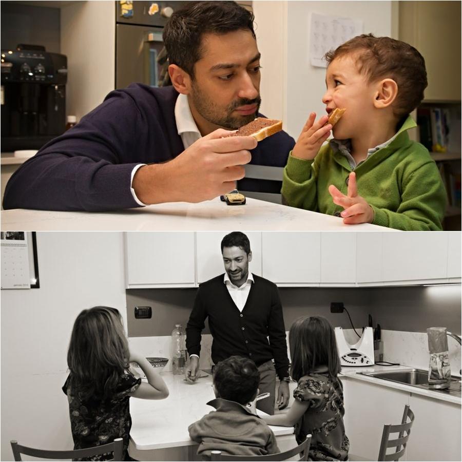 collage foto papà e bambini